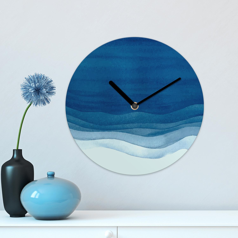 Watercolour Ocean Blue Waves Minimalist Wall Clock