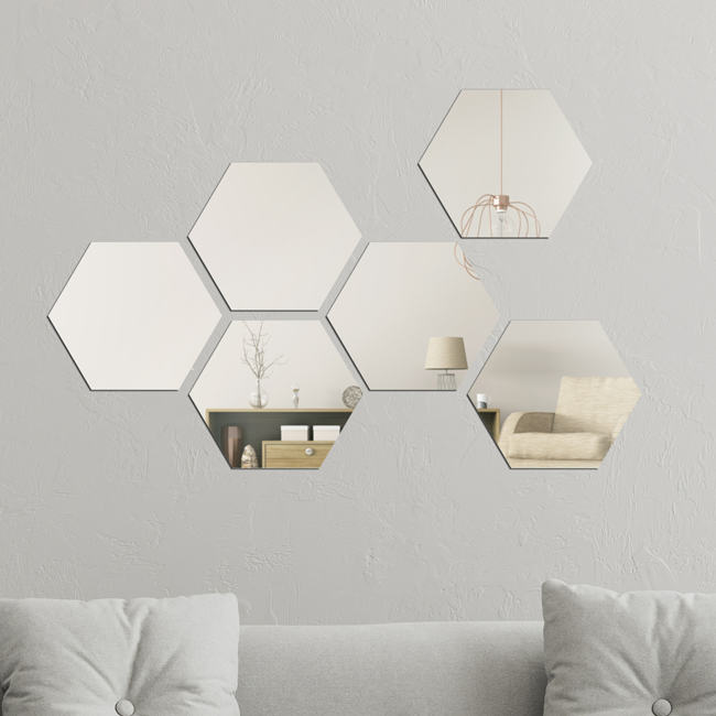 Hexagonal Peel and Stick Mirror