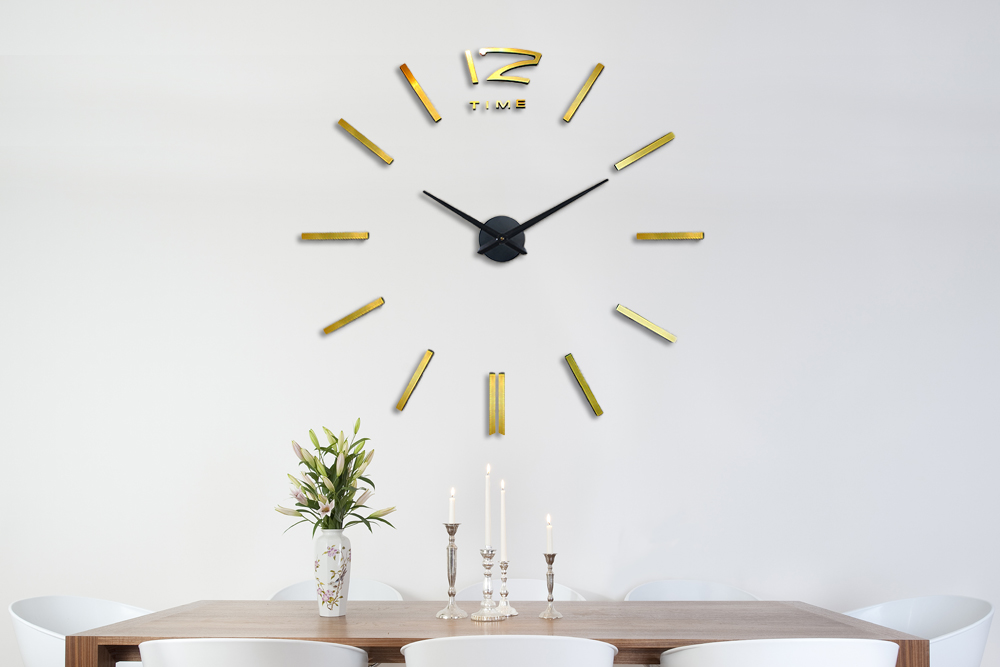 Black and Gold Peel and Stick Clock